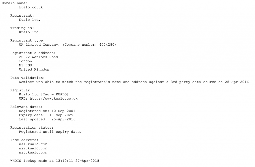 GDPR: Changes to the Domain WHOIS Database   Kualo