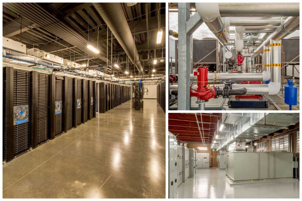 a montage of a large internet data center showing its industrial nature
