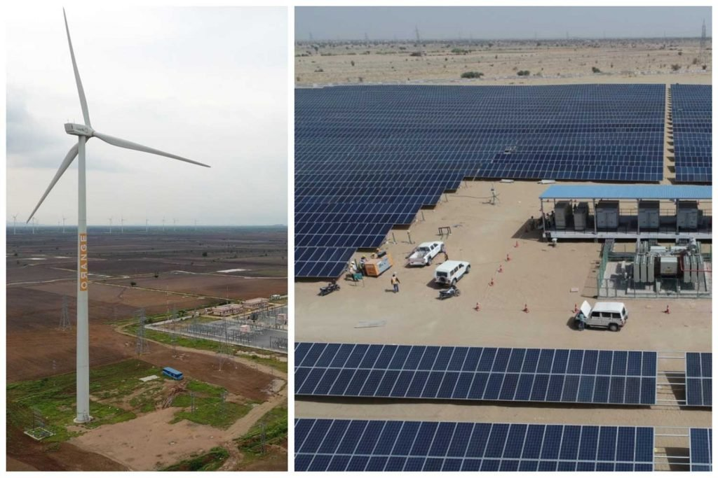 a montage of a wind turbine and solar array