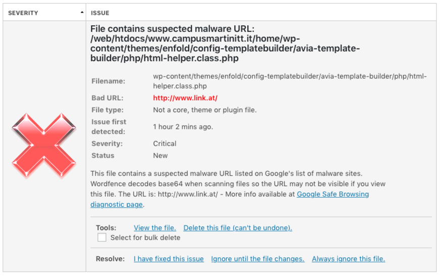 hacked wordpress malware detection